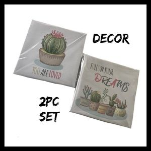 2Pc Cactus Canvas Wall Art Set NIB